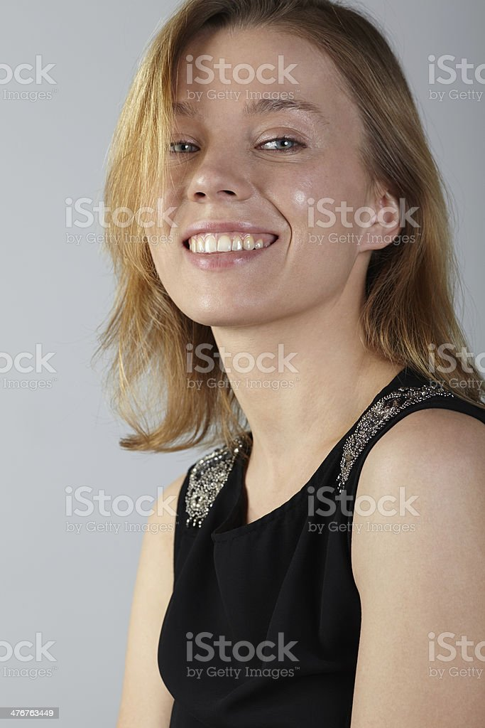 Portrait of woman smiling royalty-free stock photo