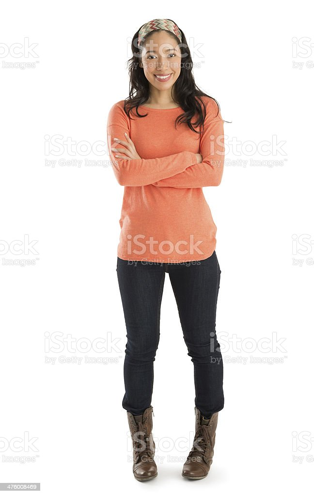 Portrait Of Woman Standing Arms Crossed stock photo