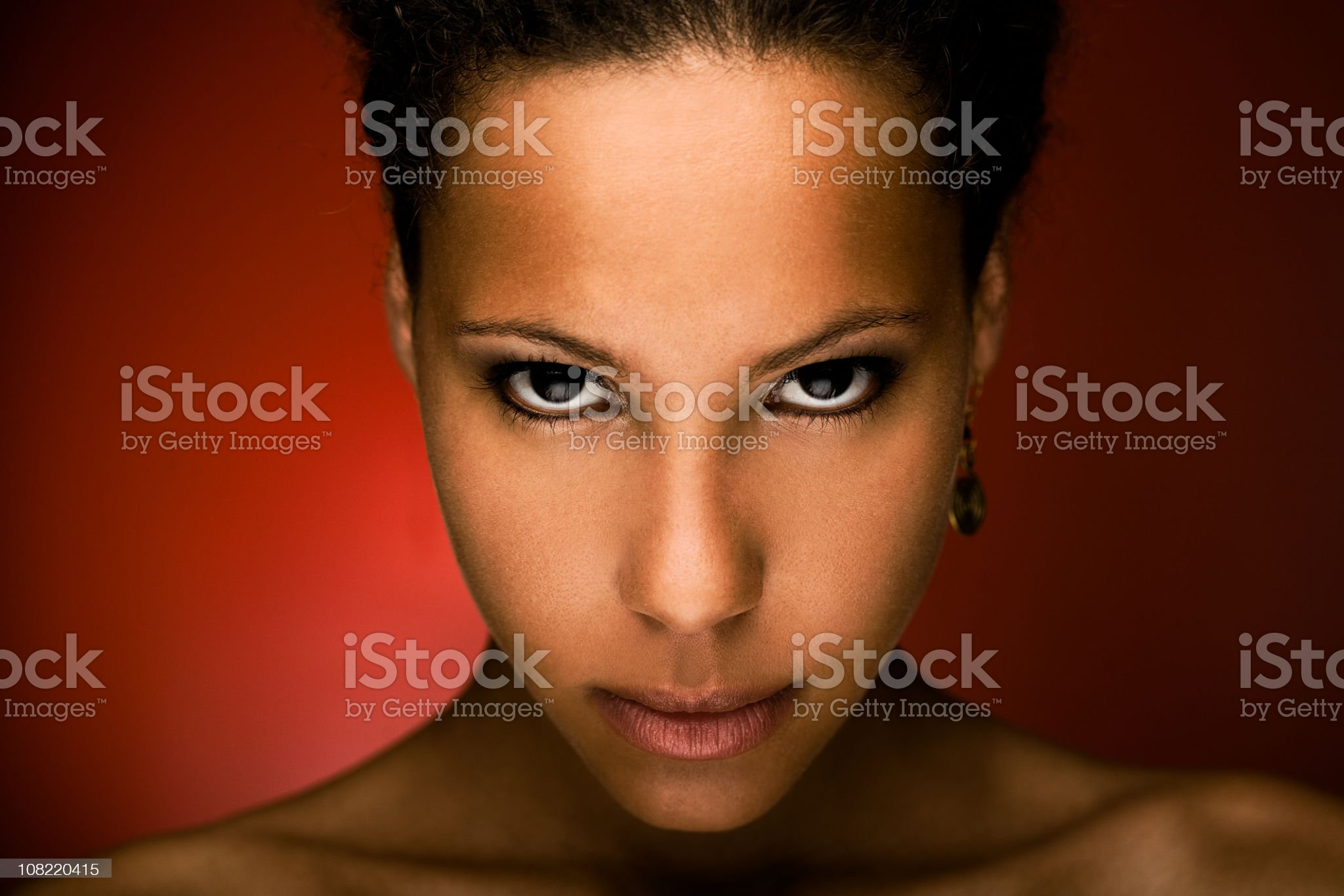 Portrait of Woman Staring at Camera royalty-free stock photo
