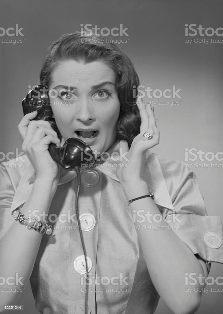 Portrait of woman talking on phone royalty-free stock photo
