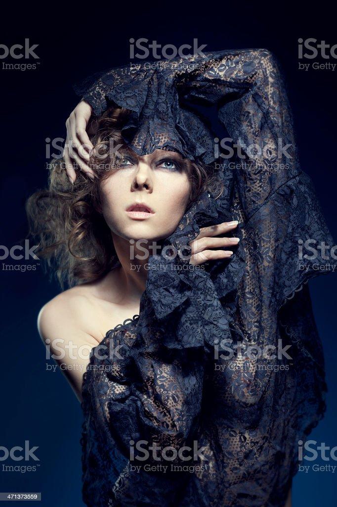 Portrait of Woman Wearing Lace stock photo