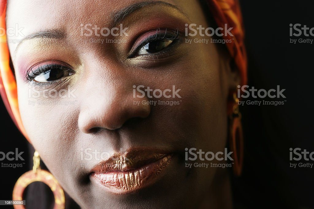 Portrait of Woman Wearing Make-up and Jewelry royalty-free stock photo