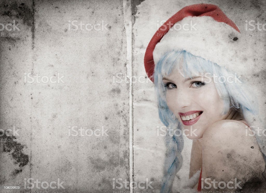 Portrait of Woman Wearing Santa Clause Hat royalty-free stock photo