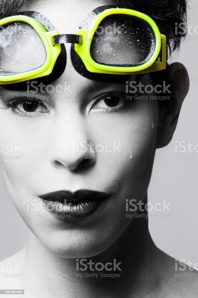 Portrait of Woman Wearing Swimming Goggles royalty-free stock photo
