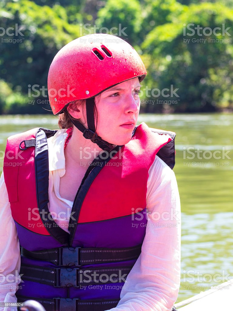 Portrait of woman while rafting in Sri Lanka stock photo