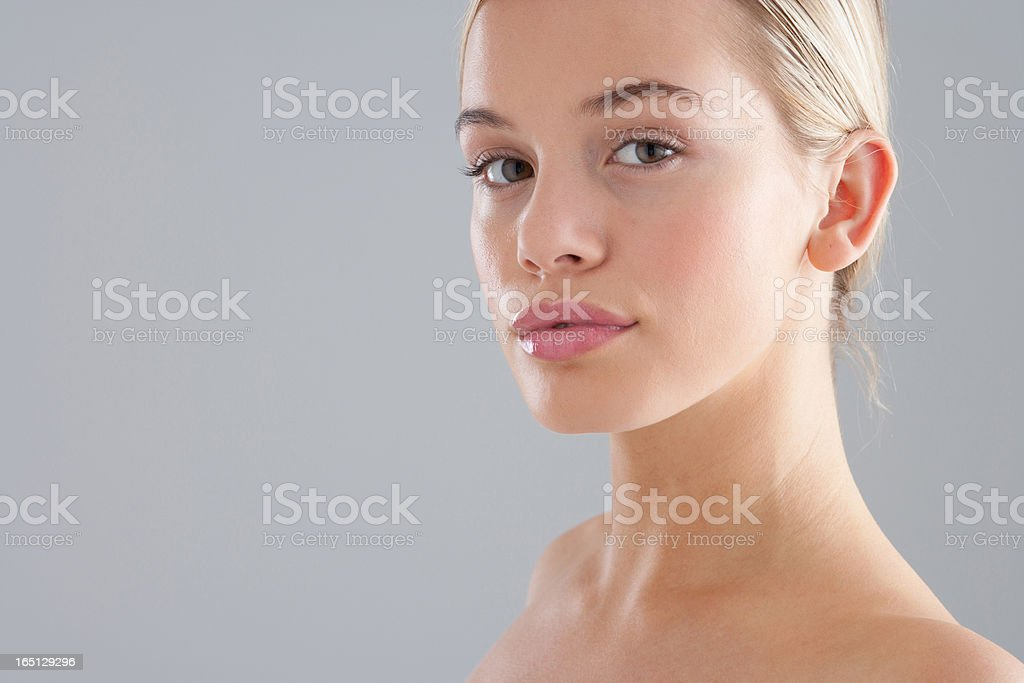 Portrait of woman with bare chest stock photo