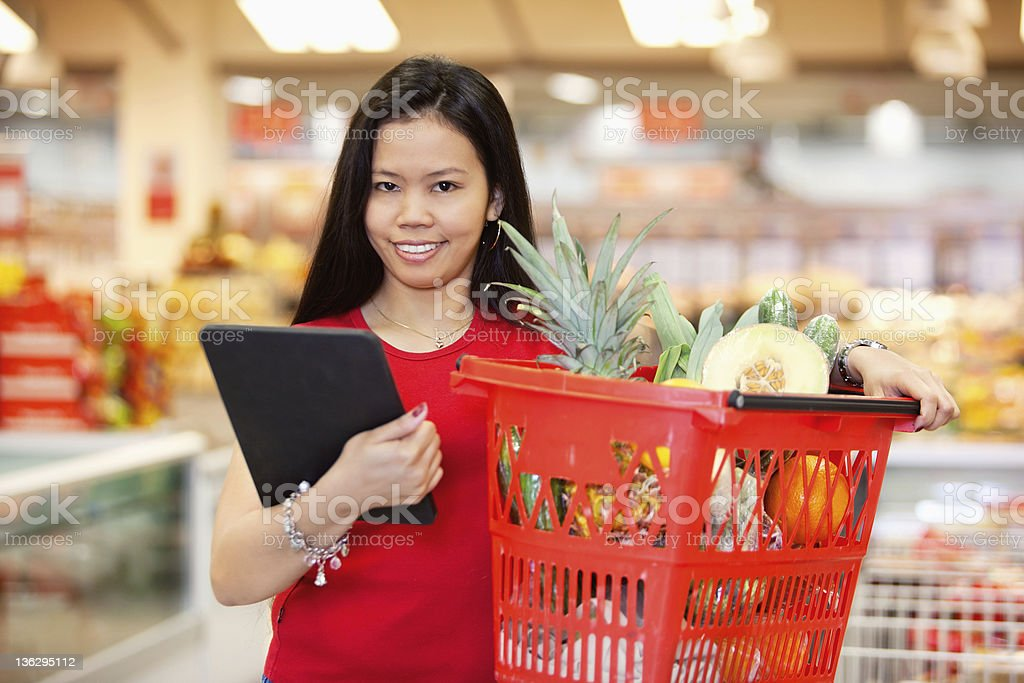Portrait of woman with digital tablet royalty-free stock photo