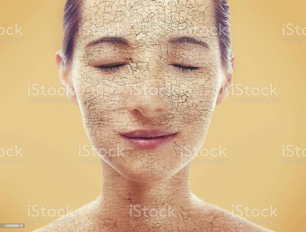 Portrait of woman with dry skin stock photo