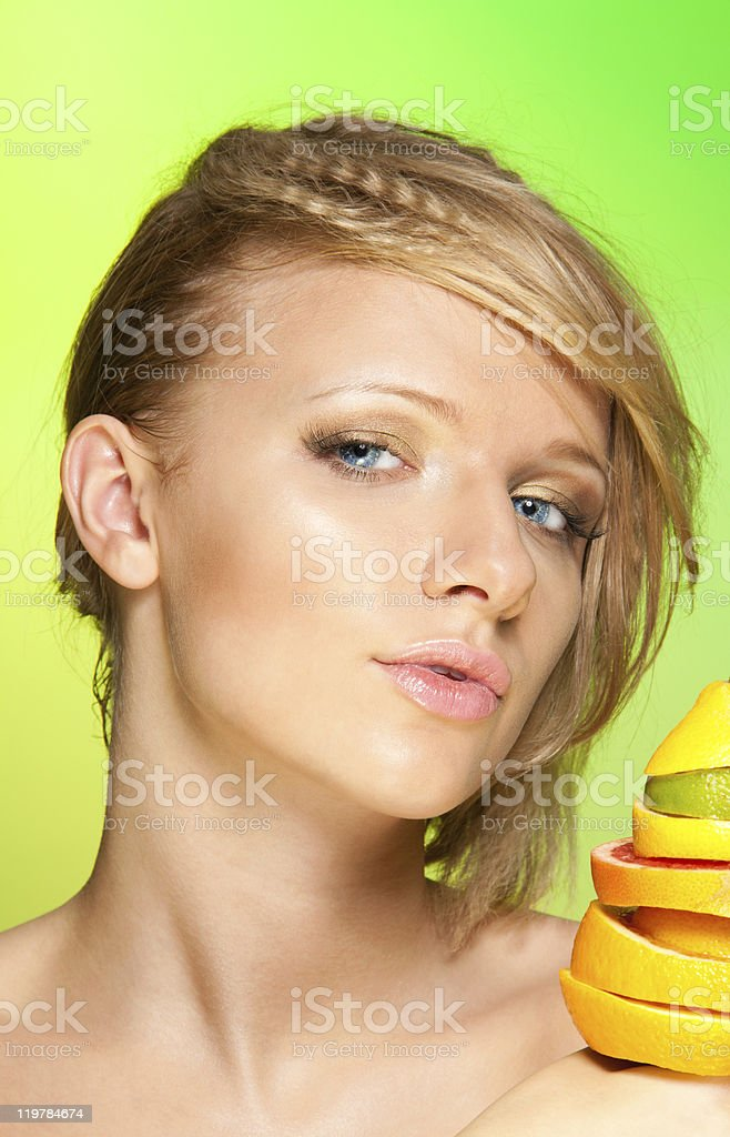 Portrait of woman with fruits royalty-free stock photo