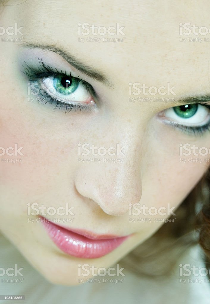 Portrait of Woman with Green Eyes royalty-free stock photo