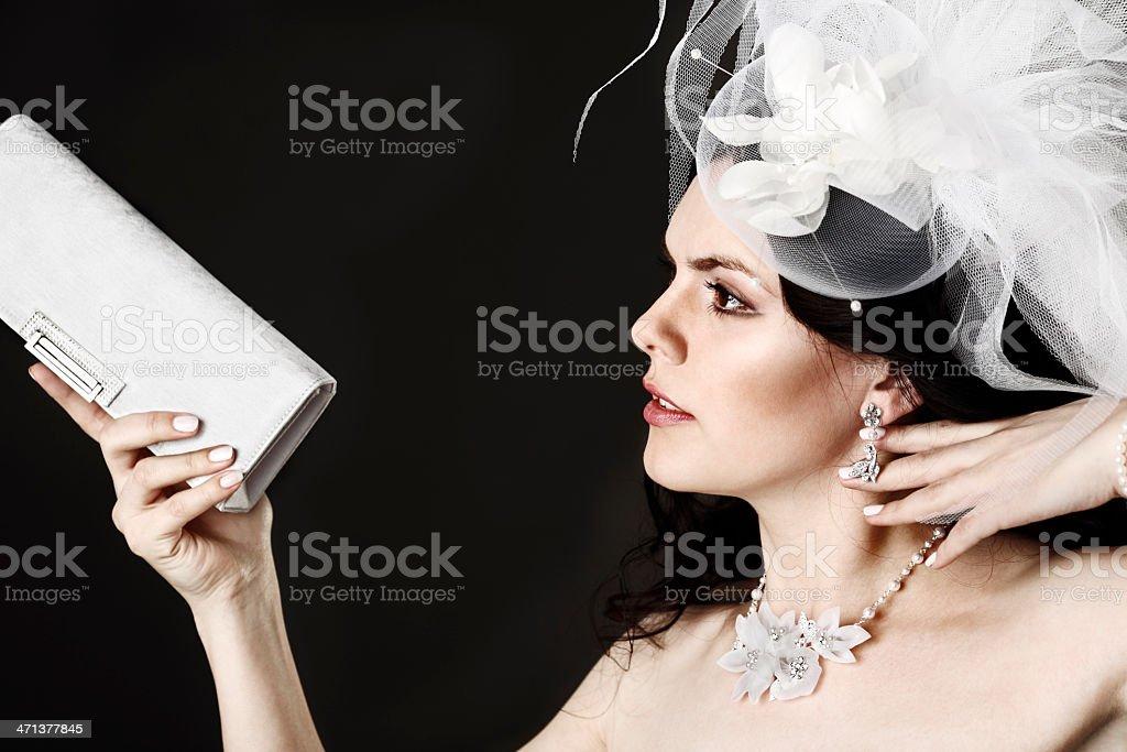 portrait of  woman with handbag stock photo