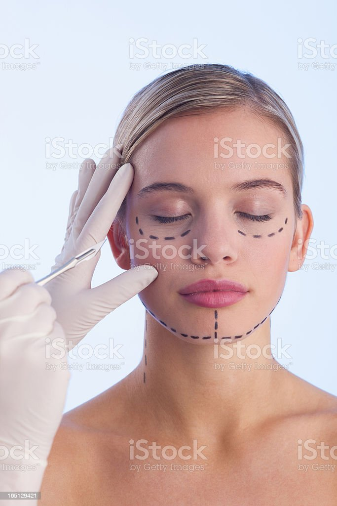Portrait of woman with lines on her face royalty-free stock photo