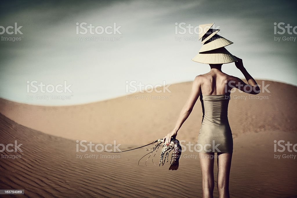 Portrait of Woman with Lobster royalty-free stock photo