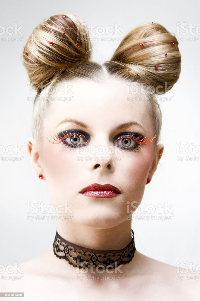 Portrait of Woman with Red Eyelashes and Crazy Hair stock photo