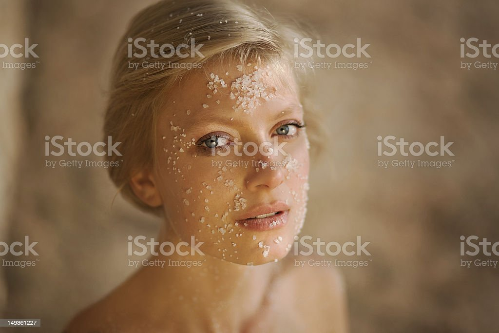 Portrait of woman with salt royalty-free stock photo