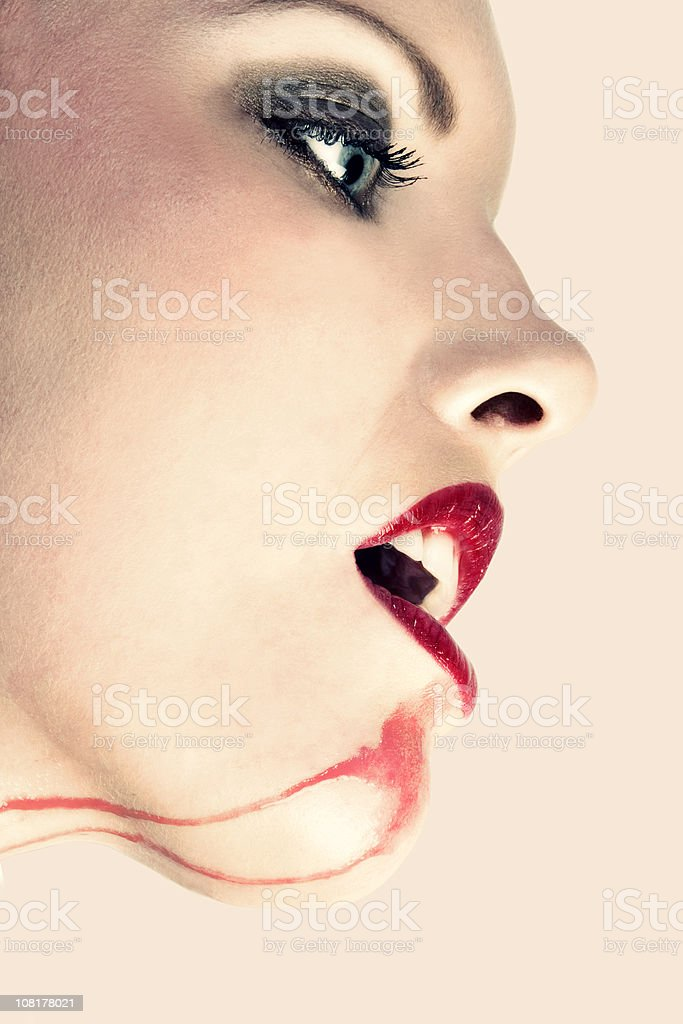 Portrait of Woman with Wine Stain on Chin royalty-free stock photo