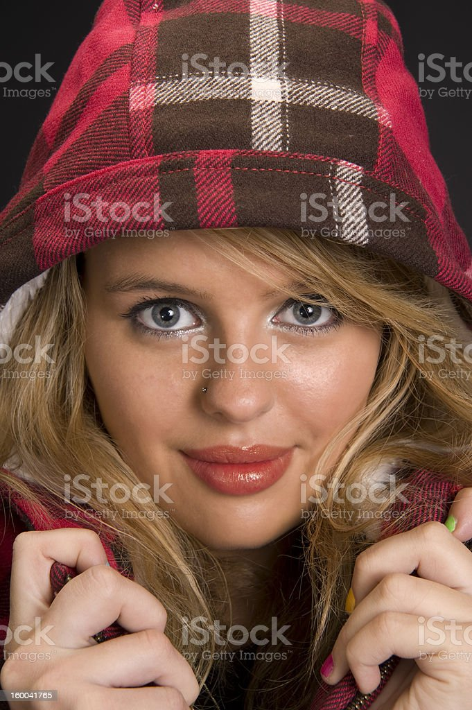Portrait of woman with winter hat royalty-free stock photo