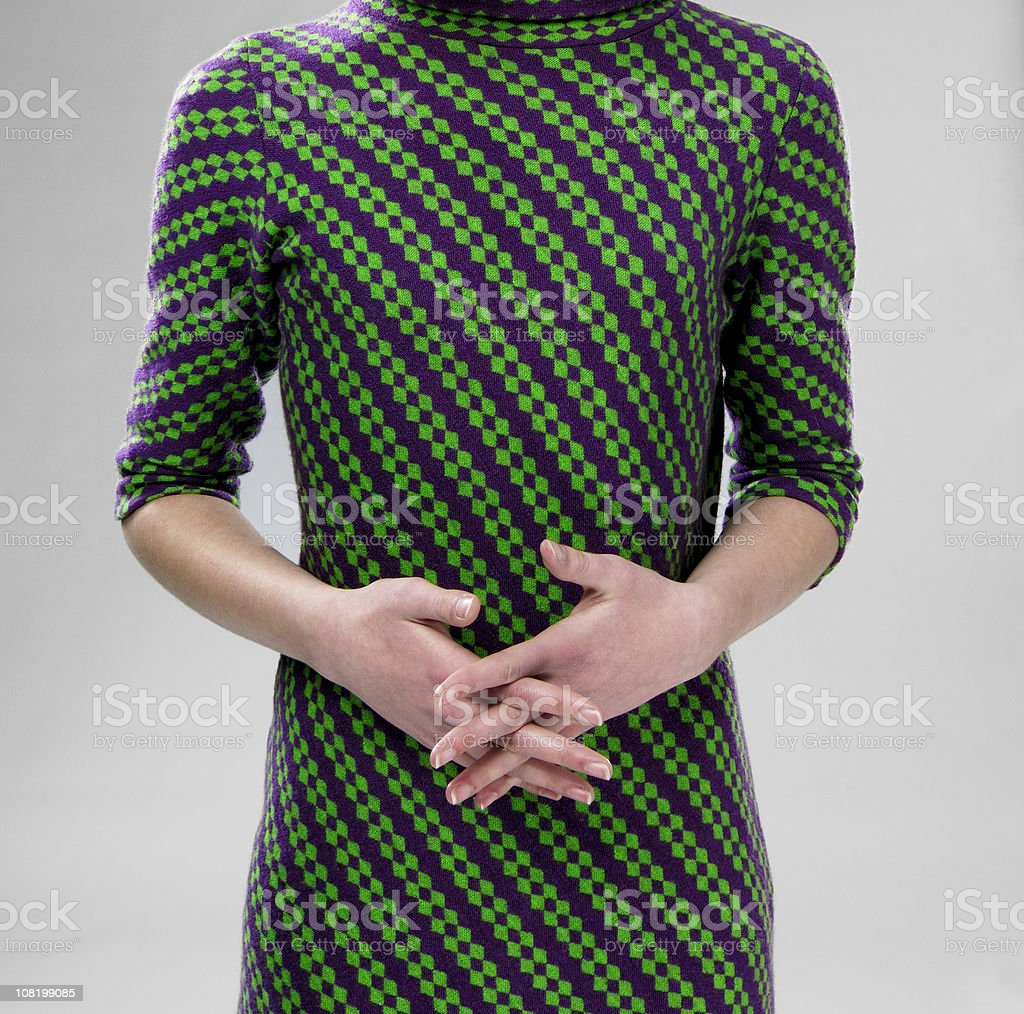 Portrait of Woman's Body in Vintage Dress royalty-free stock photo
