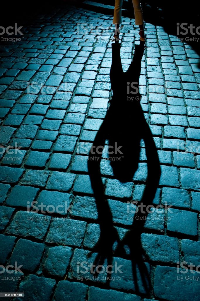 Portrait of Woman's Shadow on Cobblestone Street royalty-free stock photo