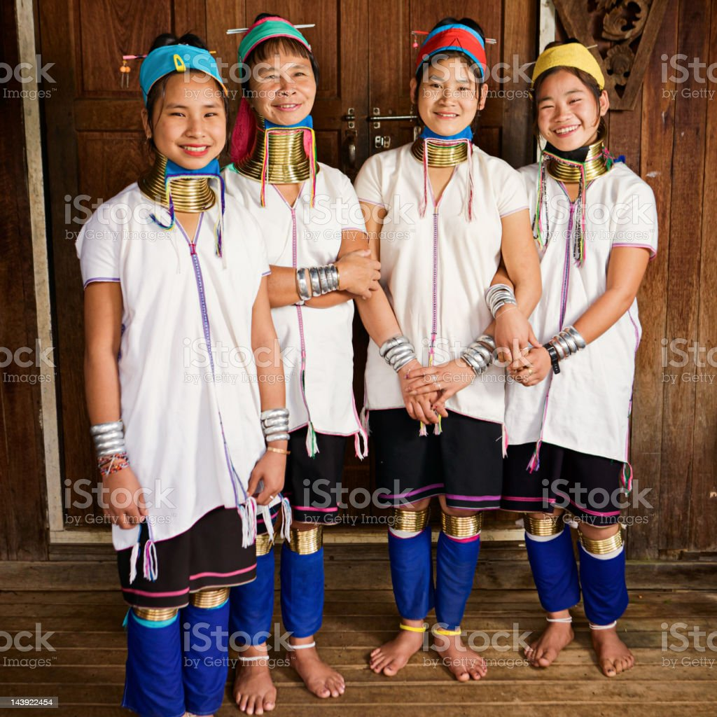 Portrait of women from Long Neck Padaung Tribe, Myanmar royalty-free stock photo