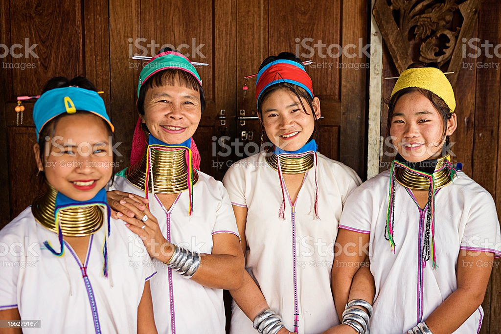 Portrait of women from Long Neck Padaung Tribe, Myanmar stock photo