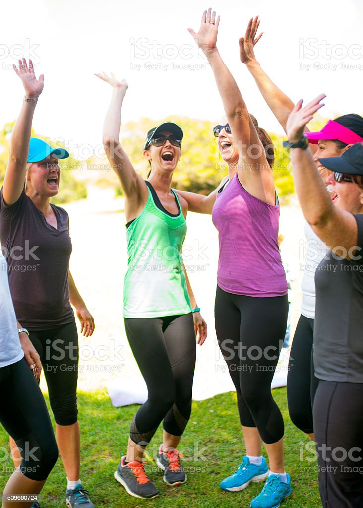Portrait of Women's Fitness Class stock photo