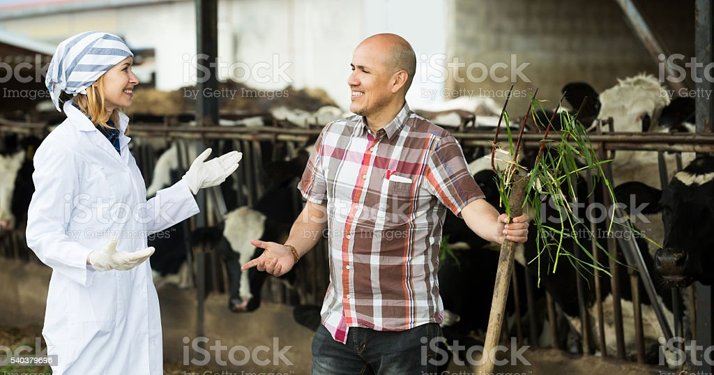 Portrait of worker and young doctor stock photo