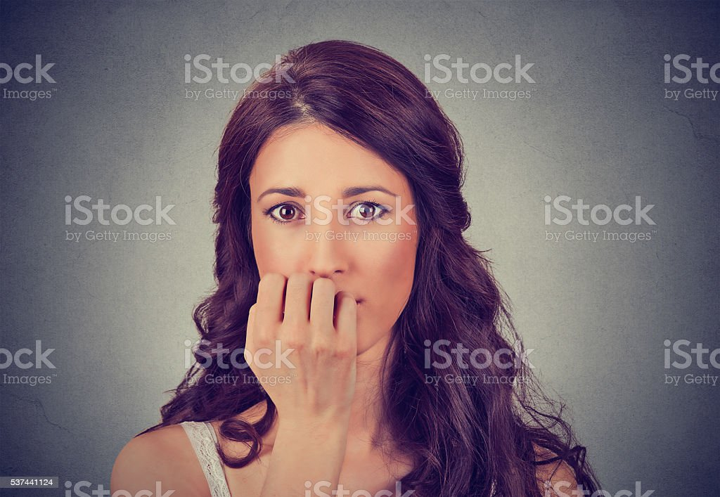 portrait of worried woman stock photo