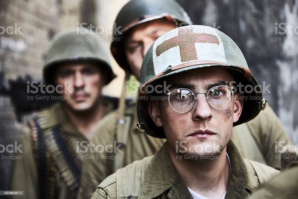 Portrait of WW ll soldiers. stock photo