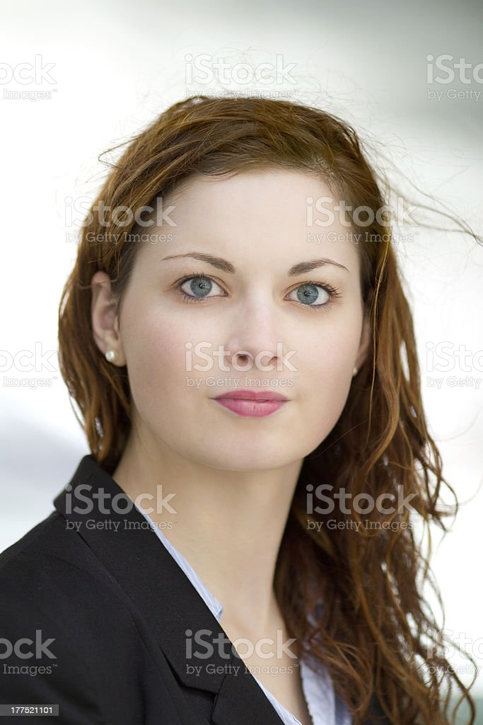 Portrait of young adult business woman stock photo