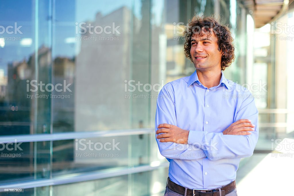 Portrait of young adult during work stock photo