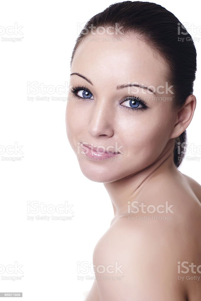 Portrait of young adult woman with health skin royalty-free stock photo