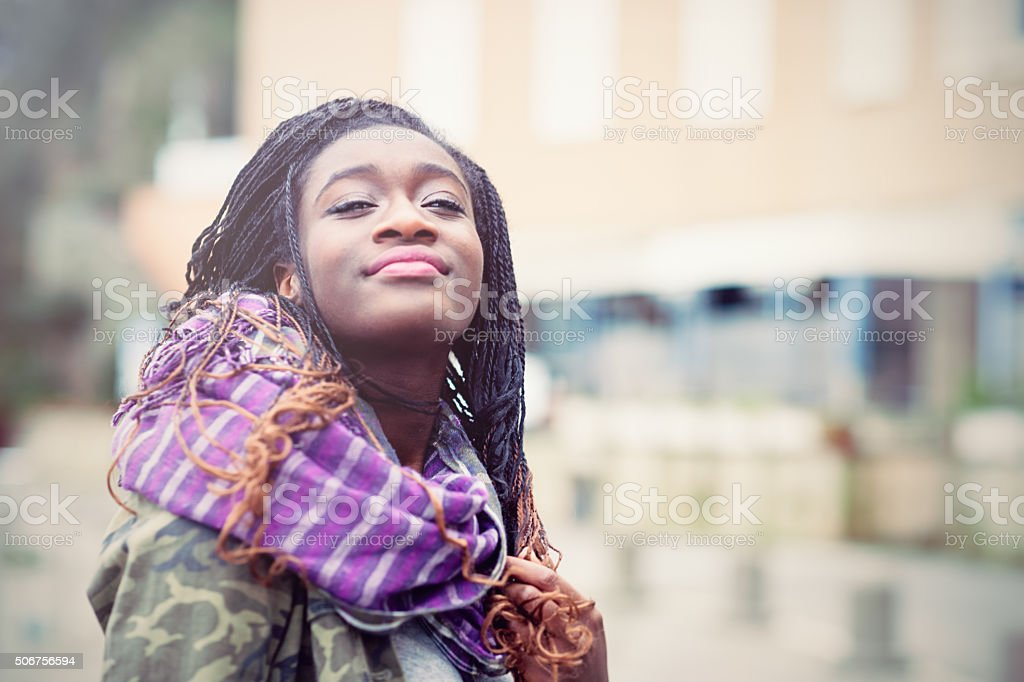 Portrait of young African woman stock photo