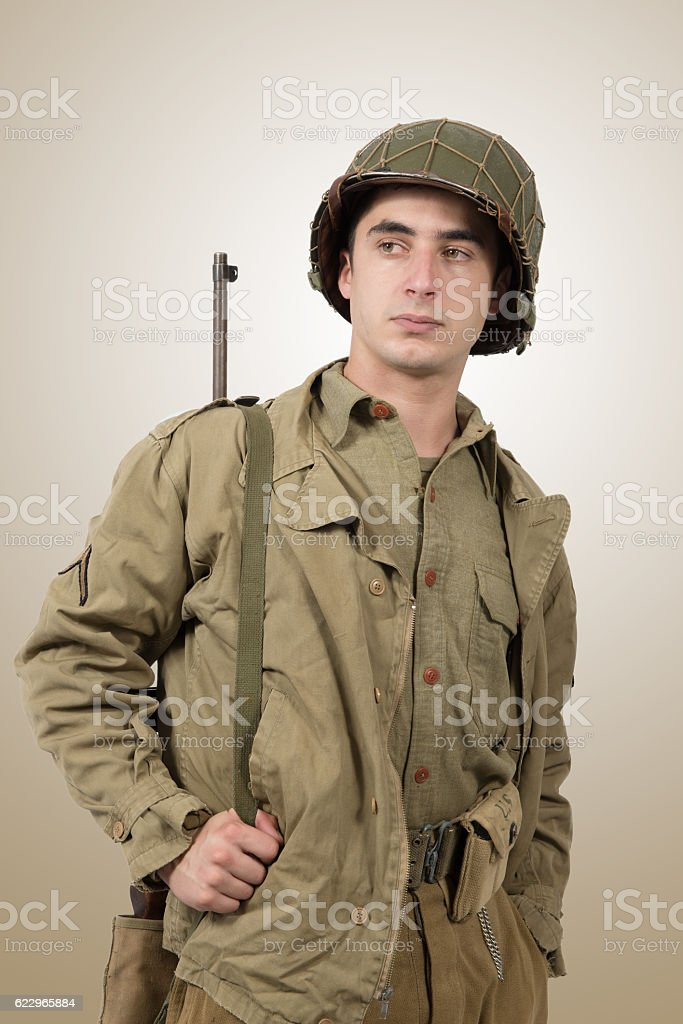portrait of young American soldier, ww2 stock photo