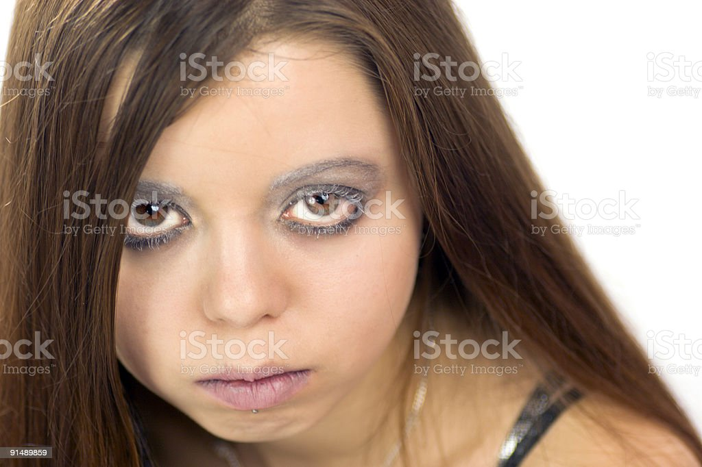 Portrait of young angry woman royalty-free stock photo