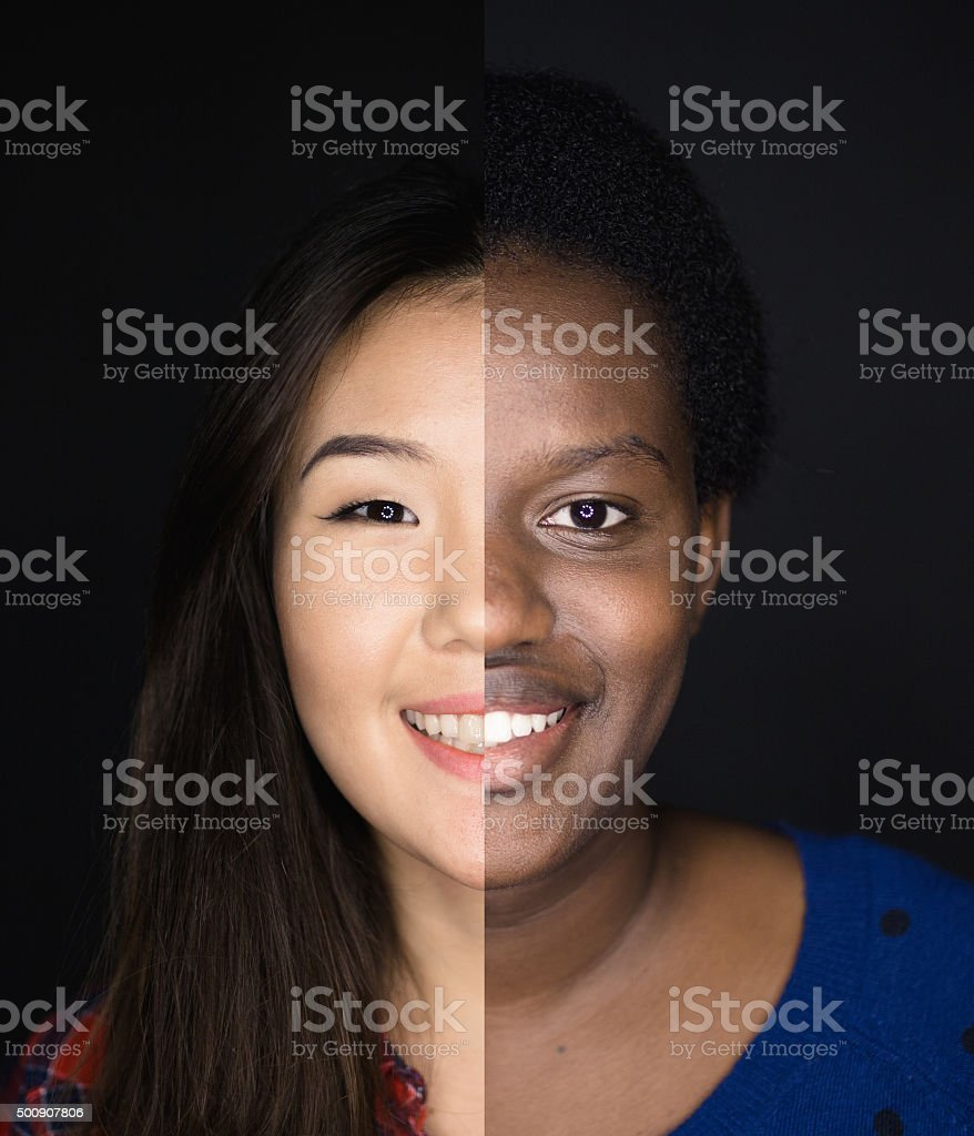 Portrait of young asian and african descent woman stock photo