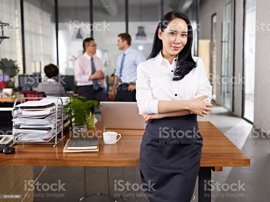 portrait of young asian business woman stock photo