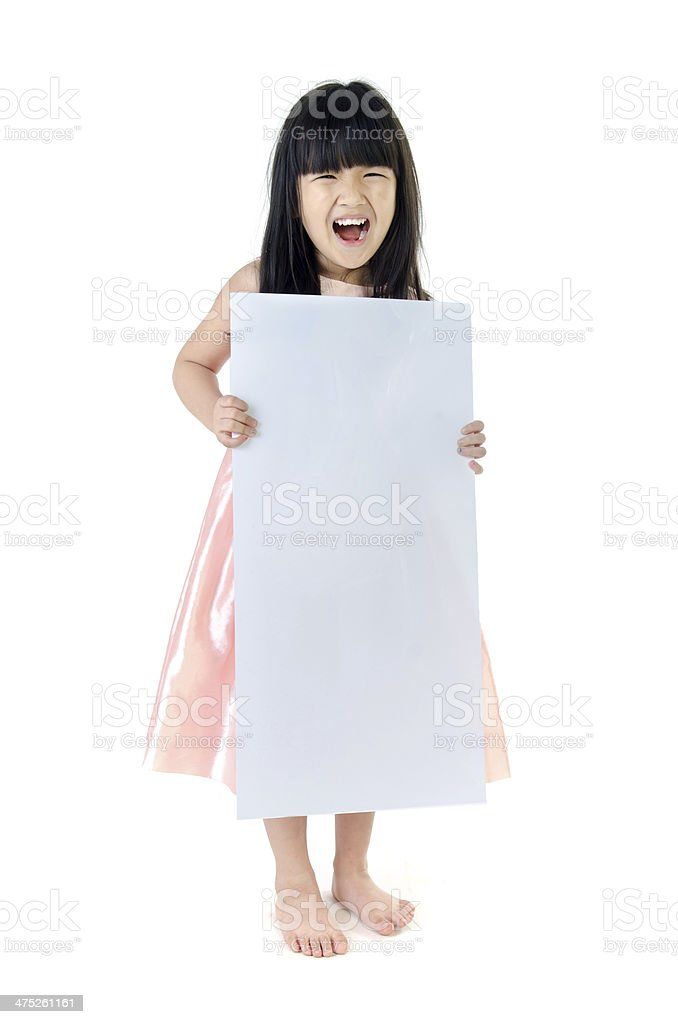 Portrait of young Asian girl holding blank billboard royalty-free stock photo