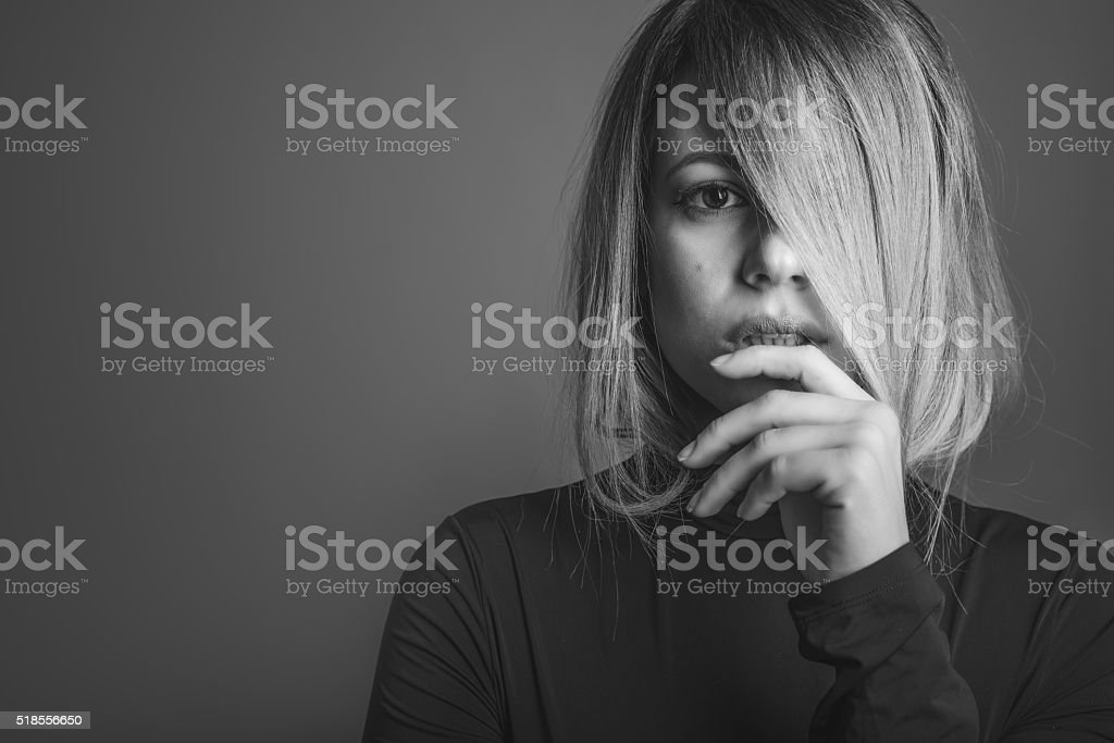 Portrait of young attractive woman stock photo