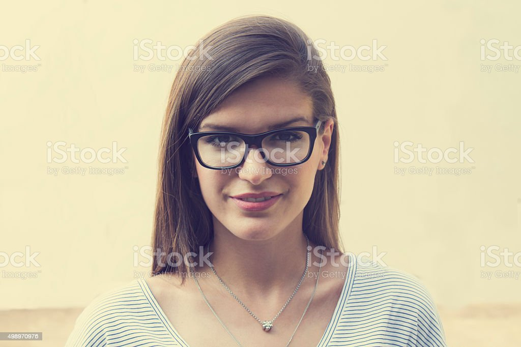 Portrait of young beautiful brunette. stock photo
