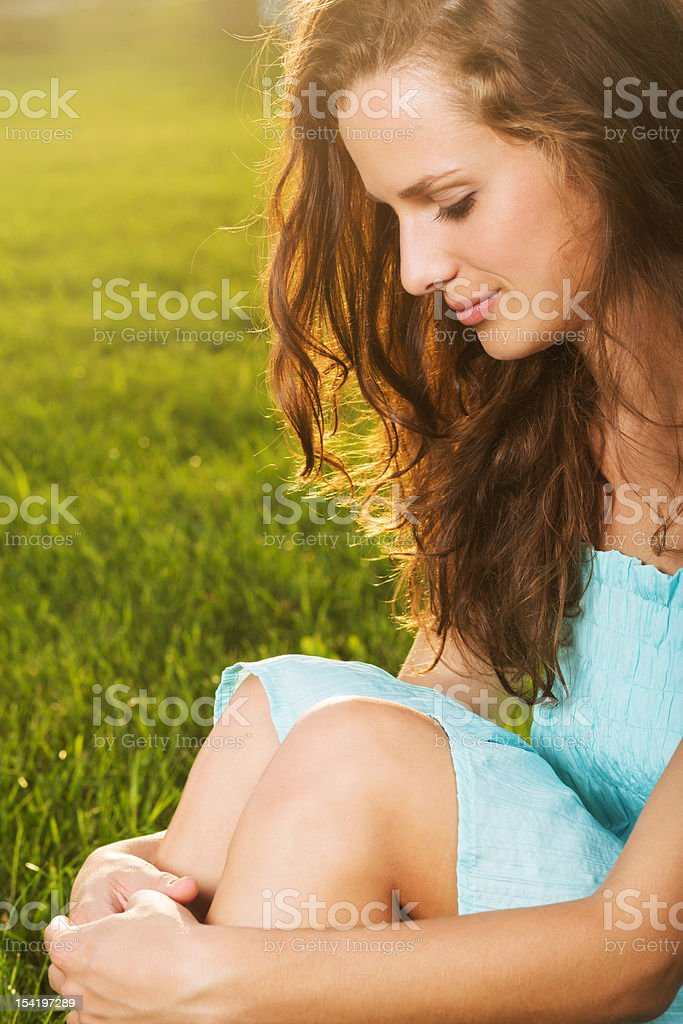 Portrait of young beautiful brunette woman stock photo