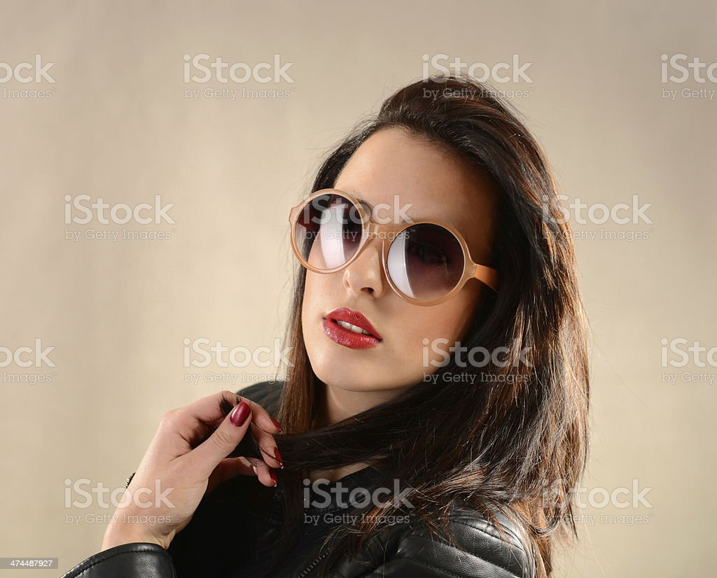 Portrait of young beautiful female fashion model in casual clothing royalty-free stock photo