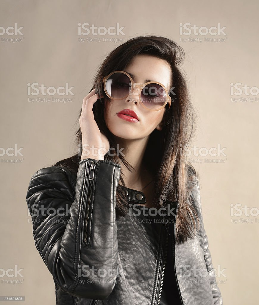 Portrait of young beautiful female fashion model in casual clothing stock photo