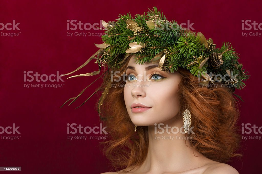 Portrait of young beautiful redhaired woman stock photo