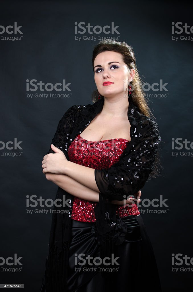 Portrait of young beautiful soprano singer royalty-free stock photo