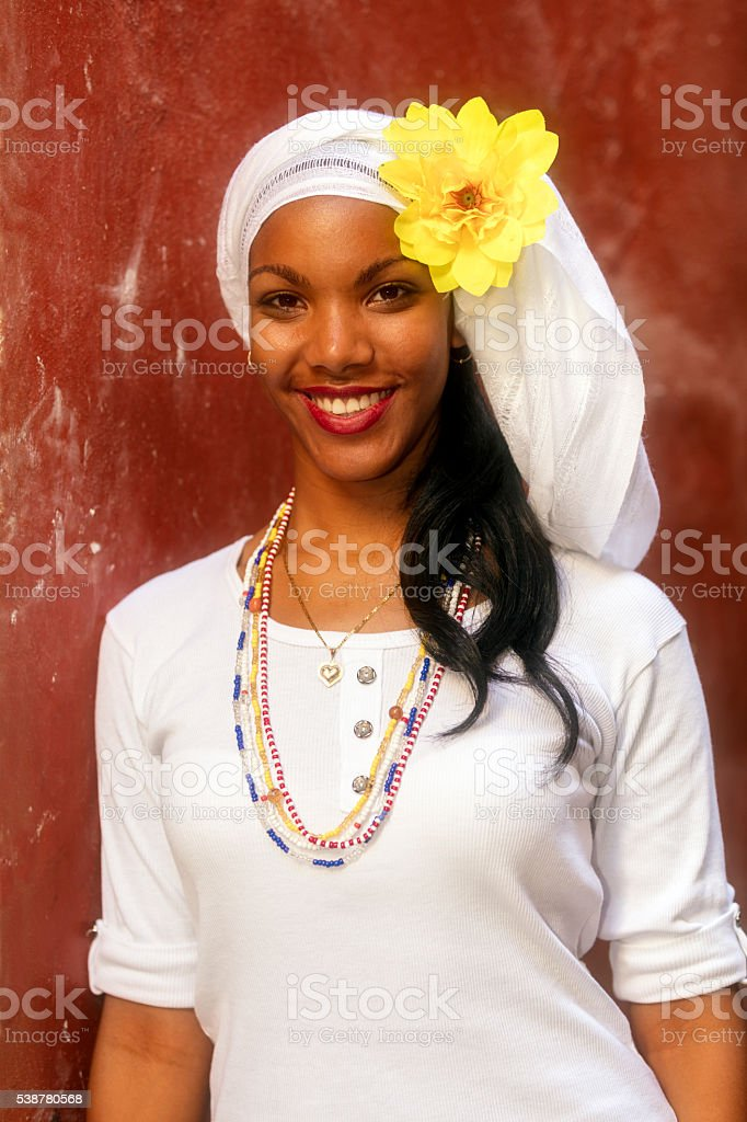 Portrait of Young, Beautiful Woman, Havana, Cuba stock photo