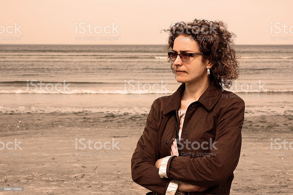 Portrait of young beautiful woman in meditation stock photo