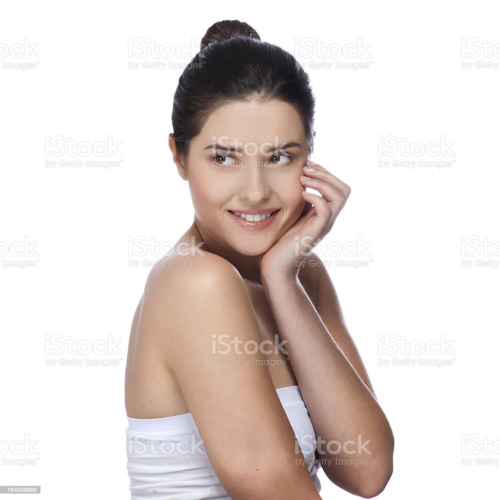 Portrait of young beautiful woman with healthy skin royalty-free stock photo