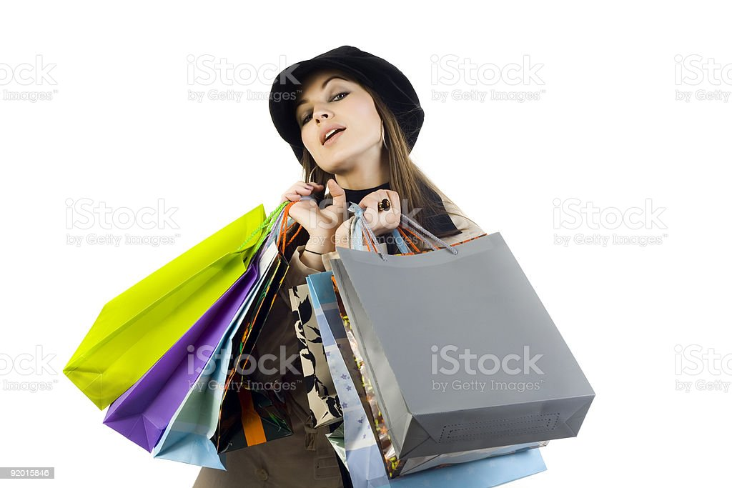 Portrait of young beautiful women with her shopping bags royalty-free stock photo