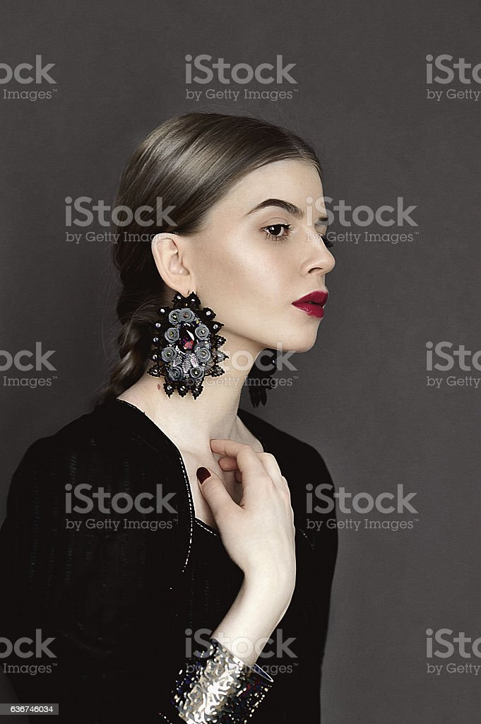 Portrait of young beauty dark hair girl stock photo
